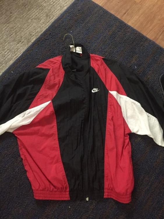 66c1f3ba1810 Nike Vintage Red Black and White Windbreaker Jacket Size Large ...