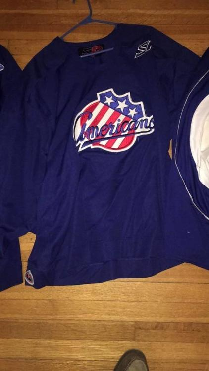 Rochester Americans AHL Blue SP Practice Jersey + Fight Strap + AHL Logo  Player Cut 56 - SOLD b2b844980ba