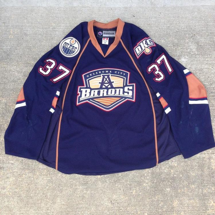 newest 828e9 0eb23 Game Used / Autographed Jerseys Oklahoma City Barons - White & Navy