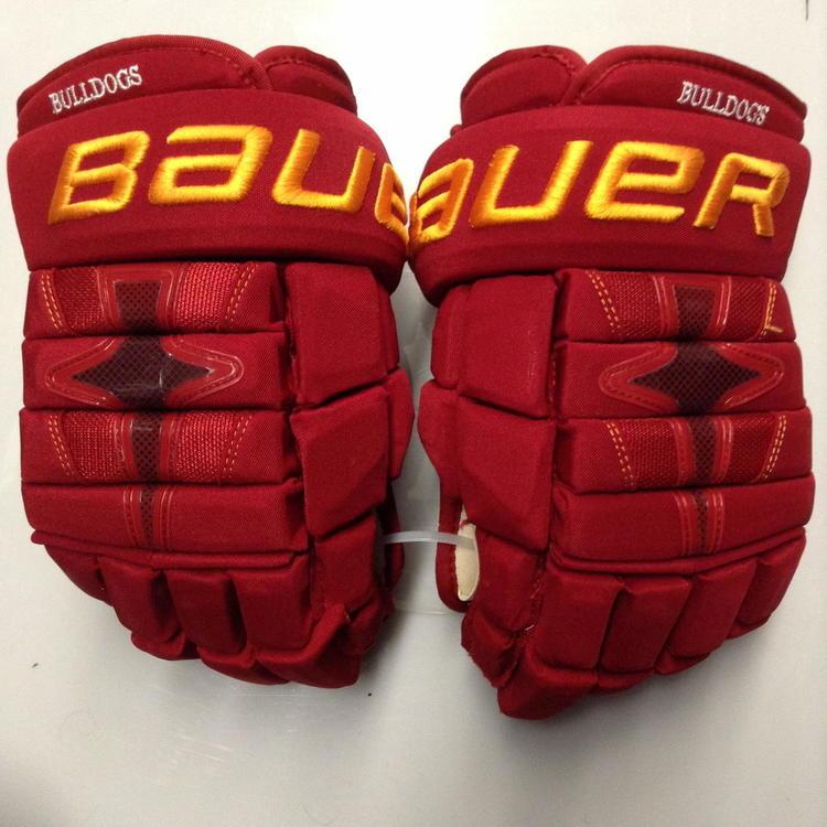 2b1379a4ede Ferris State Bulldogs  11 Bauer Nexus 1N Pro Stock Custom Hockey Gloves 14