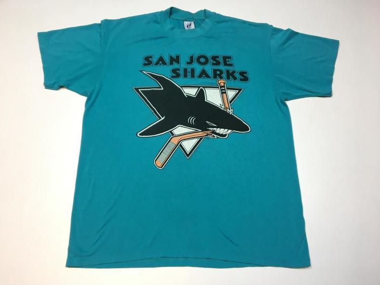 newest 45f5b 71c42 Vintage San Jose Sharks 1991 T Shirt Large