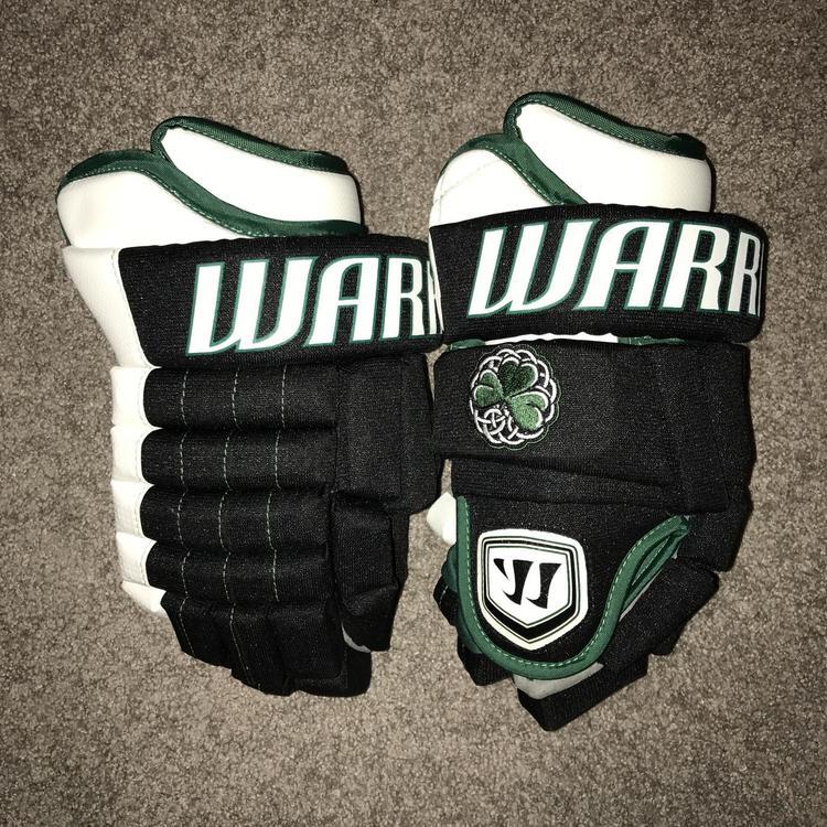 Brand New Custom Warrior Hockey Gloves Made In Canada Clover Pinky Stripe  14N