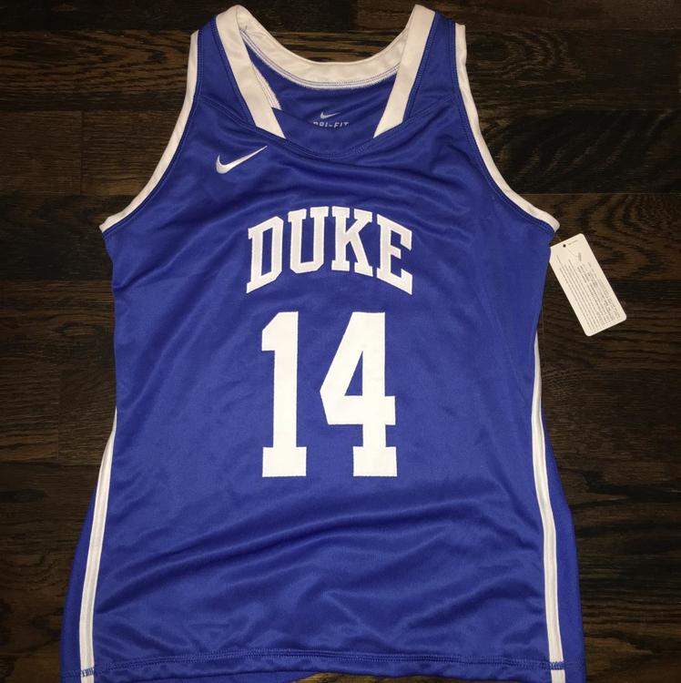 Nike New Womens Duke Blue Devils  14 Racerback Jersey SEWN Womens Medium   60  232028521
