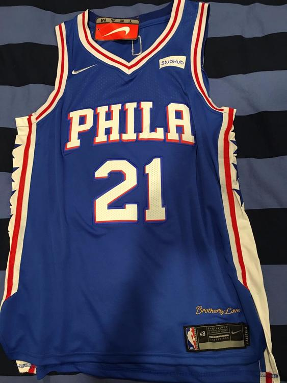 27dcfe150 Medium Nike Replica Stitched Joel Embiid Sixers Jersey - SOLD