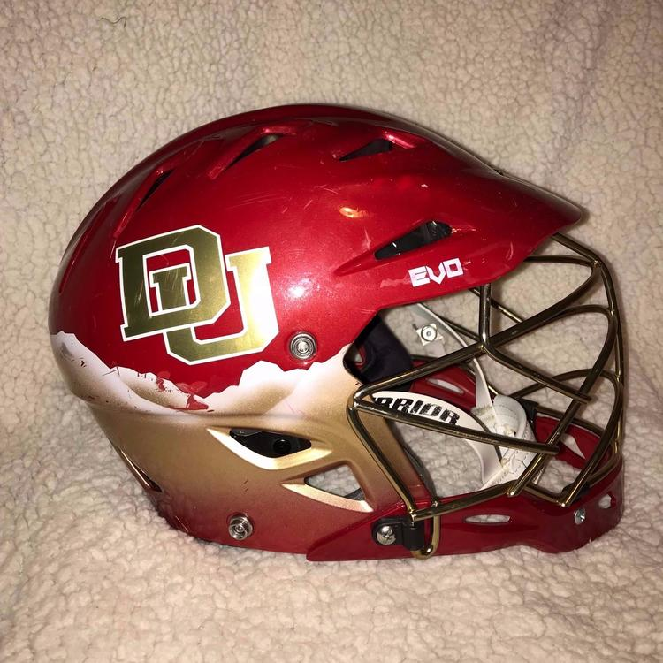 Warrior 2017 University Of Denver Custom Evo Helmet- Rocky
