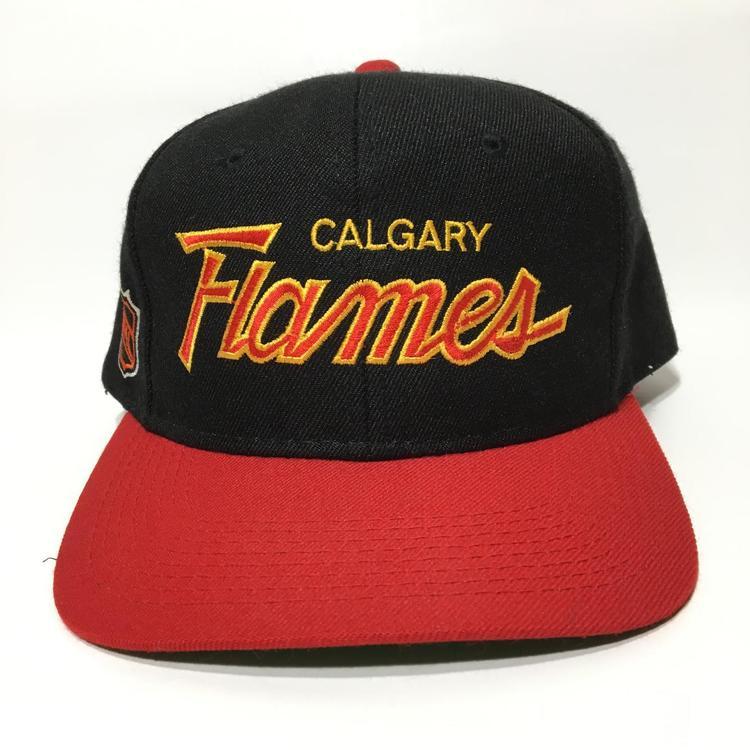 fd01337b Vintage Calgary Flames Snapback Hat Sports Specialties Script. Related Items