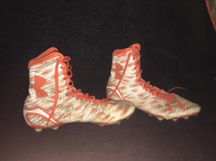 7e2bbdfa8 Orange And White Under Armor Highlights Cleats