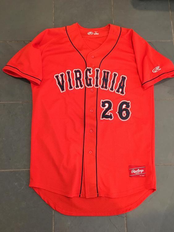 buy online a1cb0 8794d New RARE UVA Virginia Cavaliers ACC #26 Rawlings Baseball Jersey LG