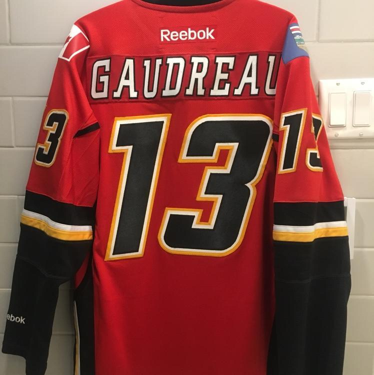 "new concept 32e63 99a59 Calgary Flames Johnny Gaudreau Jersey #13 Home Medium ""Johnny Hockey!"""
