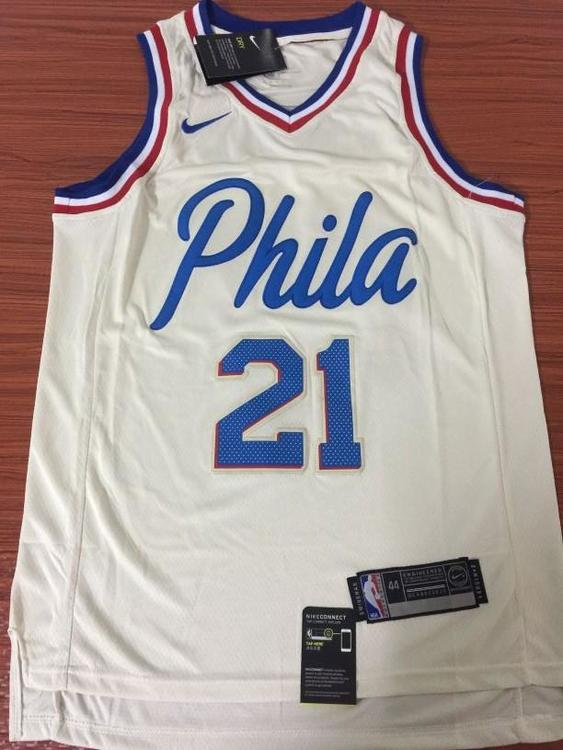 bf71ac084f17 Nike Men 21 Joel Embiid City Jersey White Philadelphia 76ers City Edition  Fanatics