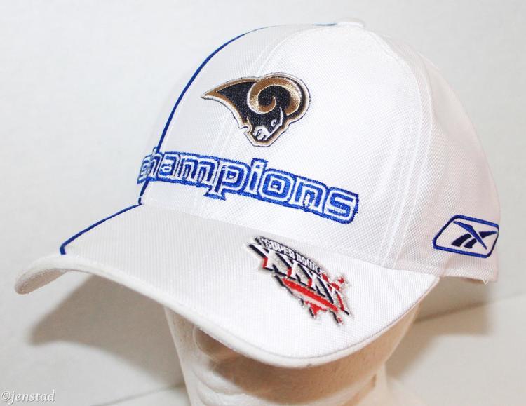 ba94b09f8e0909 RAMS REEBOK NFL PRO LEAGUE NFC CONFERENCE CHAMPIONS WHITE CAP HAT 2001 |  Football Apparel | SidelineSwap