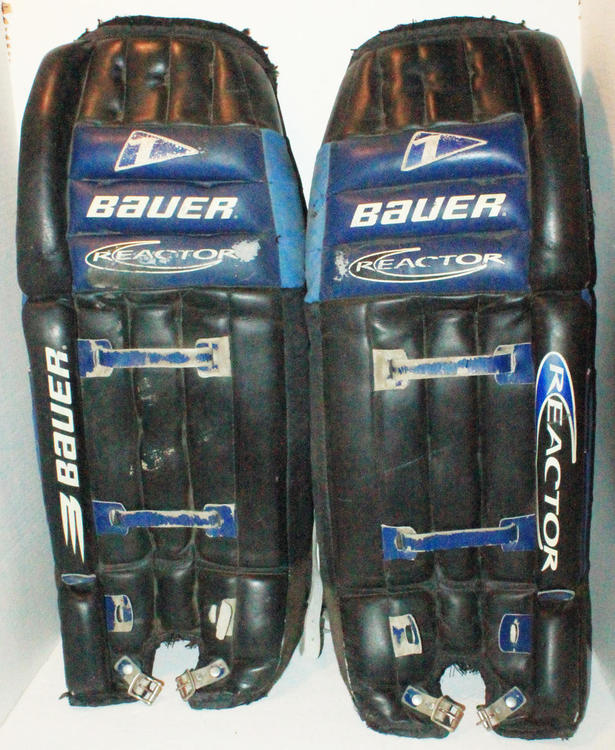 Bauer Reactor 1 Leg Pads 30 32 Ice Roller Or Street Used 1990s