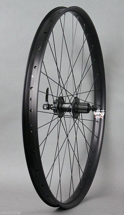 "Velocity Dually 26/"" MTB Wheelset DT Swiss 2.0 Shimano Deore 6 Bolt Black Hubs"