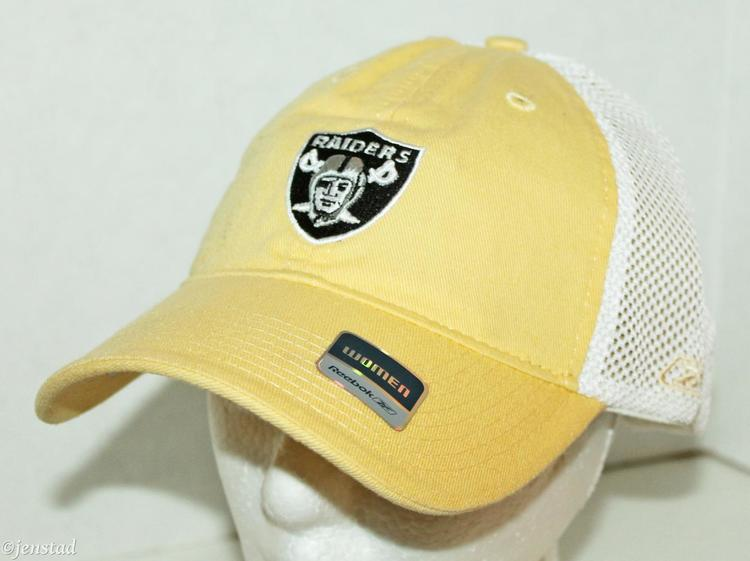 OAKLAND RAIDERS REEBOK NFL LOGO WOMEN YELLOW TRUCKER CURVE BILL CAP HAT  7239e679383