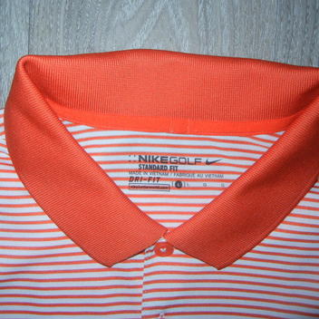 80d1bffc Nike Mens Polo Shirt Sz L Orange/White Striped Course Logo on Chest ...