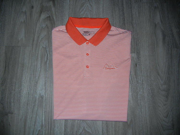 4d1dde16 Nike Golf Mens Polo Shirt Sz L Orange/White Striped Golf Course Logo on  Chest