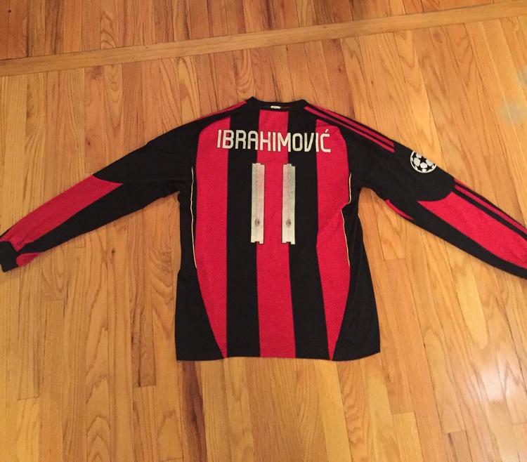 Adidas Zlatan Ibrahimovic AC Milan Long Sleeve Champions League Jersey Mens  Large  b4fd39f80
