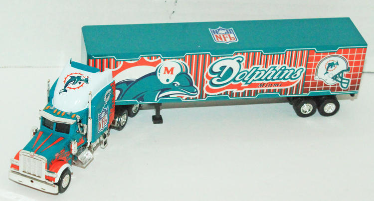 Football Toy Trucks : Pcs case miami dolphins nfl diecast truck