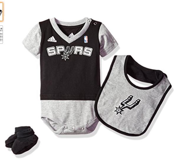 new style 2f4fc 716fe NBA Infant San Antonio Spurs Lil jersey Creeper, Bib & Bootie, 24 Months,  Black