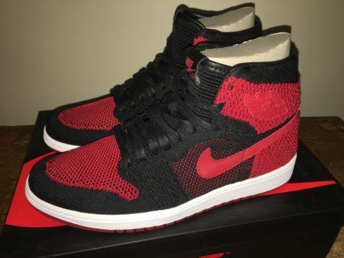 27c699078943 Air Jordan NEW Nike 1 retro Hi Flyknit sz 9.5 BRED 919704-001 BANNED ...