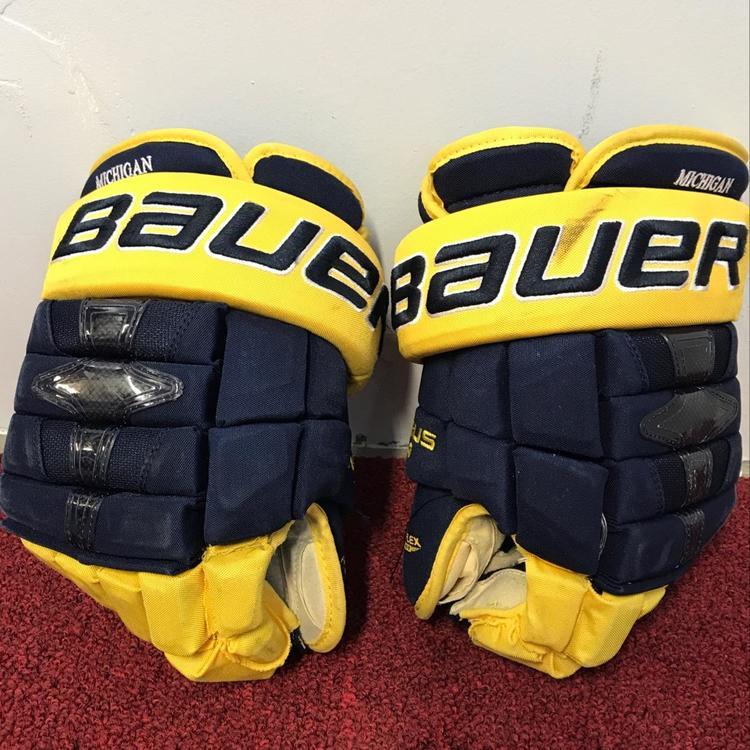 6d9f2001a99 University Of Michigan Bauer Nexus 1n Gloves Size 14 Pro Stock Return Item   MICHG2