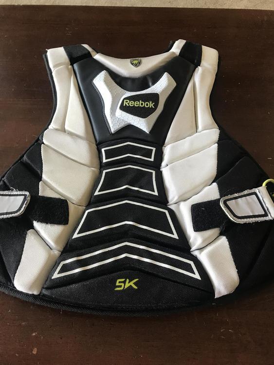 White//Black//Lime Reebok 5K Goalie Chest Protector
