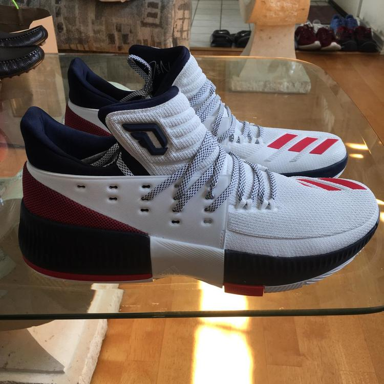 huge selection of b91c5 24430 MENS ADIDAS D LILLARD 3 WHITE NAVY RED BASKETBALL SHOE BY3762