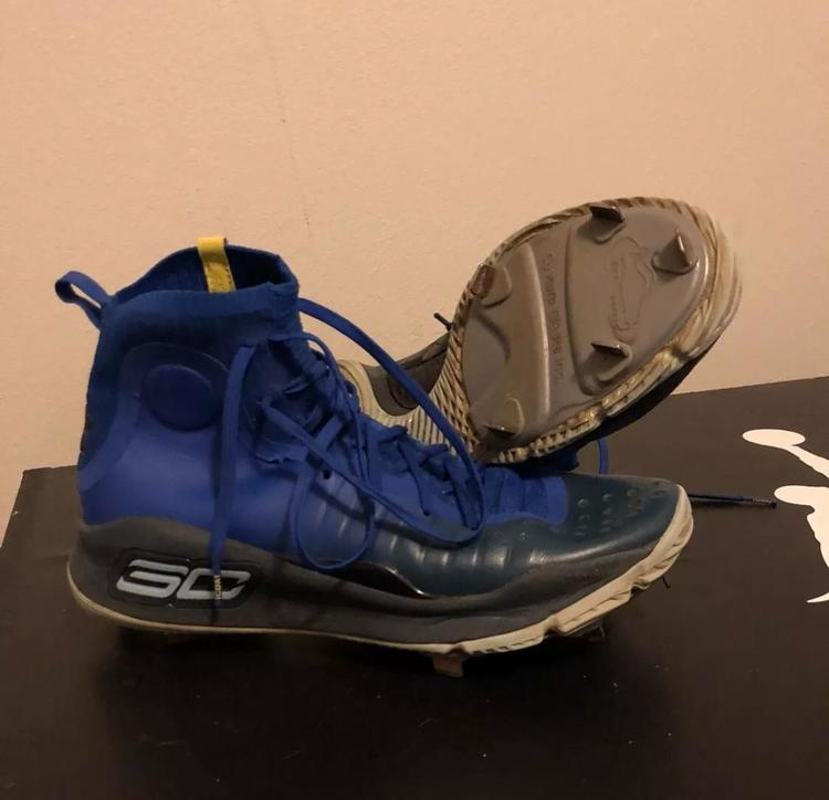 detailed look f5171 c5727 Under Armour Steph Curry 4 Custom Baseball Cleats Size 11