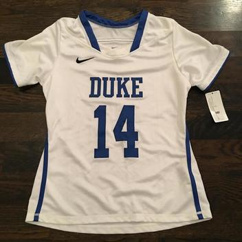 32b8e1406b59e New Nike Duke Blue Devils  14 Womens Lacrosse SS Jersey SEWN Womens Medium   85 - EXPIRED