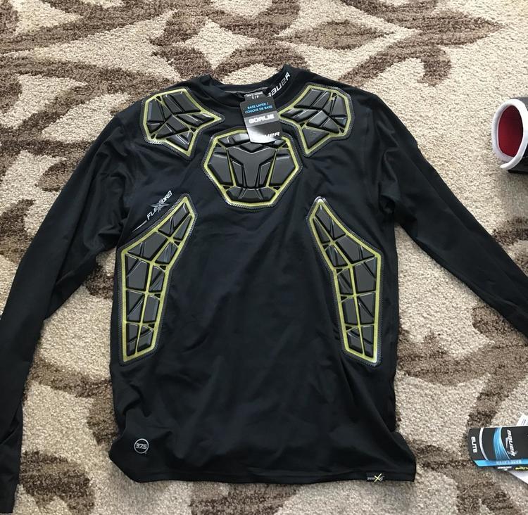 Bauer Brand New Elite Padded Base Layer Long Sleeve Shirt Size