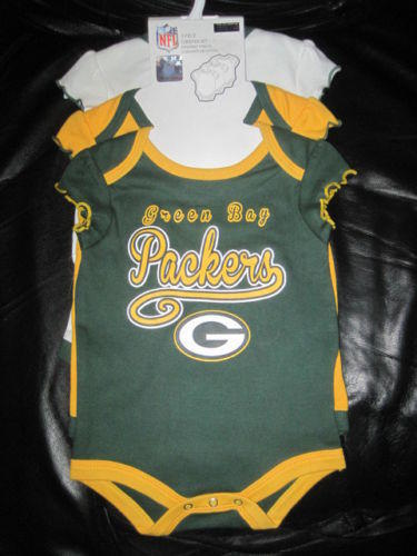 Lot Of 3 Green Bay Packers Baby Creeper Outfits 3 6 Months Nwot New