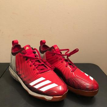 san francisco 68b27 85cb3 Adidas Boost Icon 3 Metal Baseball Cleats Red Silver White BY3682 Men's  Size 12