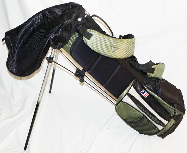 U S Kids Junior Golf Bag Carry Or Stand Green Black Dual Strap Used
