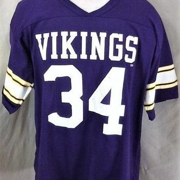 VINTAGE RAWLINGS MINNESOTA VIKINGS  34 (XL) RETRO GRAPHIC NFL FOOTBALL JERSEY  T-SHIRT 47e4e552d