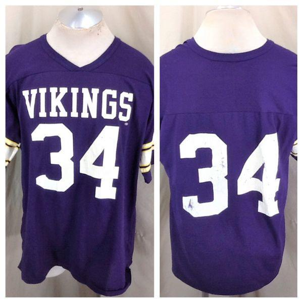 hot sale online c1bda f879c VINTAGE RAWLINGS MINNESOTA VIKINGS #34 (XL) RETRO GRAPHIC NFL FOOTBALL  JERSEY T-SHIRT