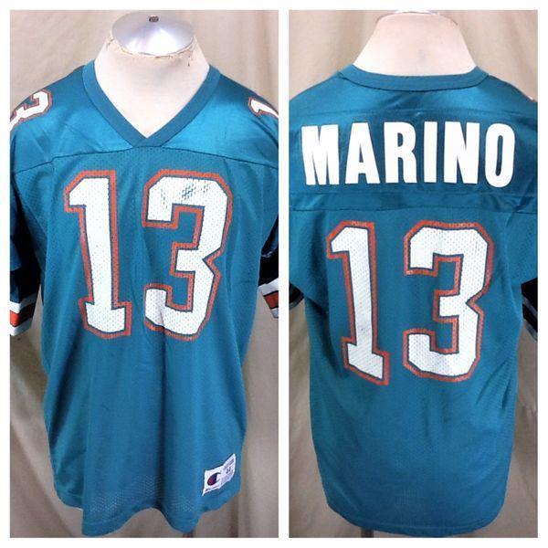 uk availability e1635 281fe VINTAGE 90'S CHAMPION DAN MARINO #13 (44/XL) RETRO MIAMI DOLPHINS NFL  FOOTBALL JERSEY