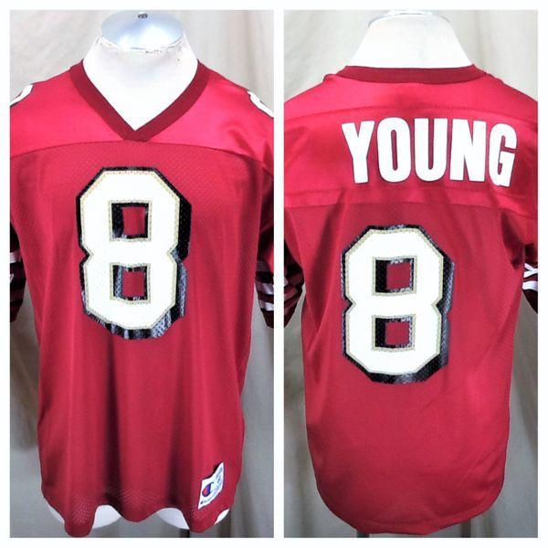 buy popular db625 2c516 VINTAGE CHAMPION SAN FRANCISCO 49ERS (44/LARGE) STEVE YOUNG #8 NFL GRAPHIC  JERSEY