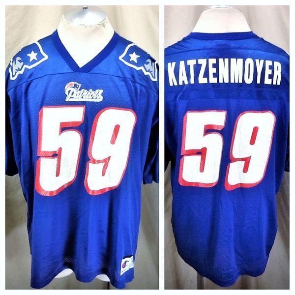 hot sale online 3800f c5d10 VINTAGE CHAMPION ANDY KATZENMOYER #59 (XL) NEW ENGLAND PATRIOTS NFL  FOOTBALL JERSEY