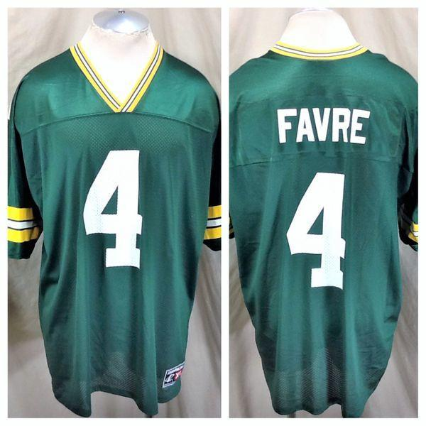 sports shoes 5f4e9 e229c VINTAGE LOGO ATHELETIC BRETT FAVRE #4 GREEN BAY PACKERS (XL) NFL FOOTBALL  JERSEY