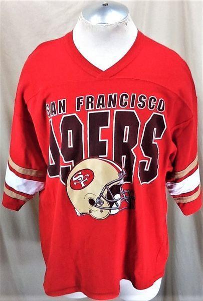 dece7fbb0 VINTAGE 90'S LOGO 7 SAN FRANCISCO 49ERS (XL) RETRO NFL FOOTBALL GRAPHIC T-