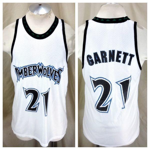 hot sale online 5b563 08951 VINTAGE MINNESOTA TIMBERWOLVES KEVIN GARNETT #21 (LARGE) RETRO NBA  BASKETBALL JERSEY