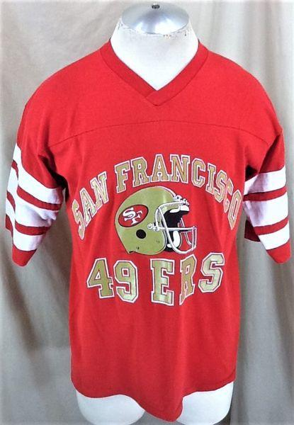 06b0c9e27e9 VINTAGE 90 S LOGO 7 SAN FRANCISCO 49ERS (LARGE) RETRO NFL FOOTBALL GRAPHIC T -SHIRT. Related Items