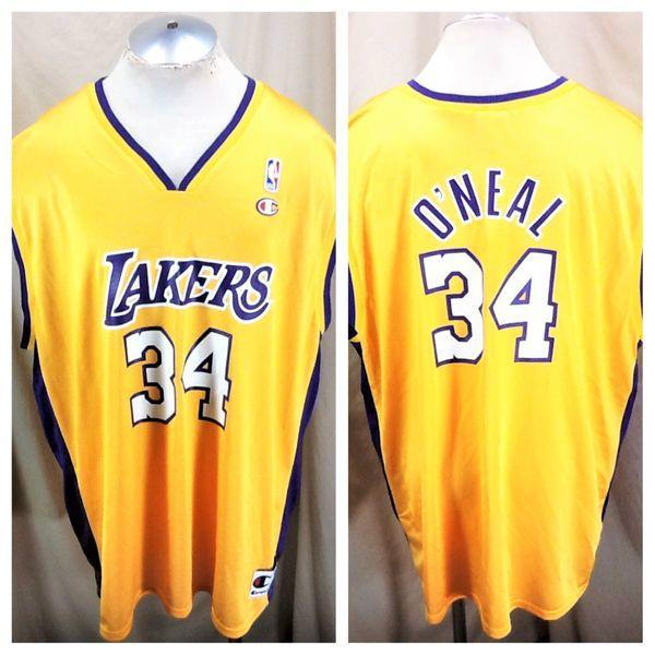 VINTAGE CHAMPION SHAQUILLE O NEAL  34 (54 2XL) LOS ANGELES LAKERS GRAPHIC  NBA JERSEY  8d2efd3618b7