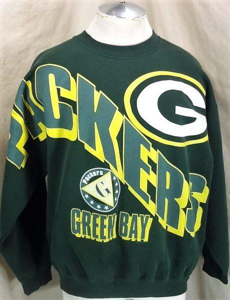 Vintage Green Bay Packers Lxl Nfl Graphic Crew Neck Sweatshirt