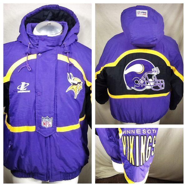 sale retailer 48ef3 4c808 VINTAGE LOGO ATHLETIC MINNESOTA VIKINGS (LARGE) HOODED 1/2 ZIP UP PUFFER  JACKET