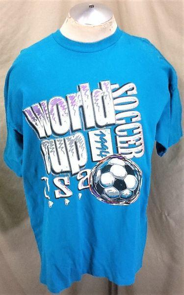 47846080b VINTAGE 1994 WORLD CUP TEAM USA SOCCER (XL) RETRO GRAPHIC FUTBOL T-SHIRT  AQUA