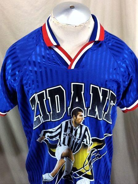Vintage 1998 Zinedine Zidane France National Medium Retro Graphic Futbol Jersey Soccer Apparel Jerseys