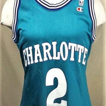 VINTAGE CHAMPION CHARLOTTE HORNETS (40 SMALL) LARRY JOHNSON  2 GRAPHIC NBA  BASKETBALL JERSEY 958ecf991