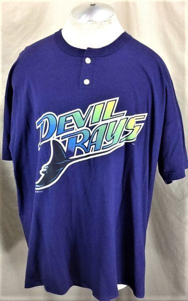 buy online 9ed53 ffb6e VINTAGE 1999 RUSSELL ATHLETIC TAMPA BAY DEVIL RAYS (2XL) MLB BASEBALL  GRAPHIC BUTTON UP JERSEY SHIRT