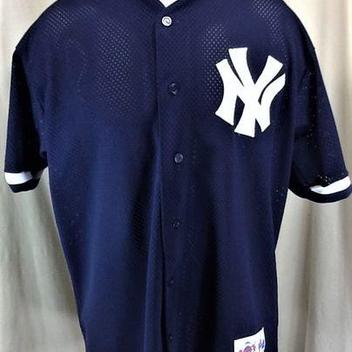 4aebbd94304 VINTAGE MAJESTIC DIAMOND COLLECTION NEW YORK YANKEES (LARGE) BUTTON UP MLB  BASEBALL JERSEY